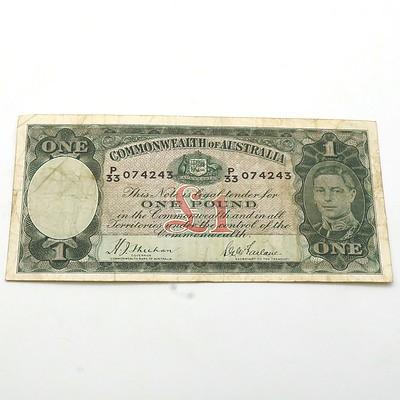 Commonwealth of Australia Sheehan/McFarlane One Pound Banknote, P33 074243