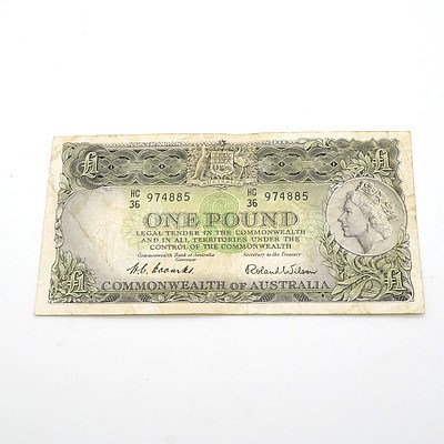 Commonwealth of Australia Coombs / Wilson One Pound Note, HC36 974885