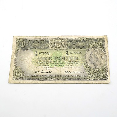 Commonwealth of Australia Coombs / Wilson One Pound Note, HB88 675565