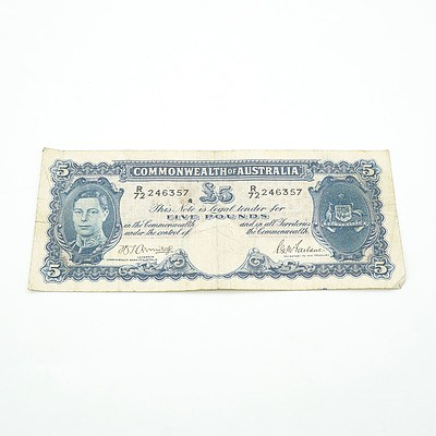 Commonwealth of Australia Armitage / McFarlane Five Pound Note, R72 246357