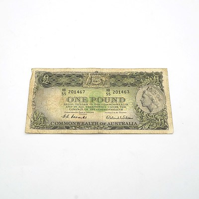 Commonwealth of Australia Coombs / Wilson One Pound Note, HB55 210467