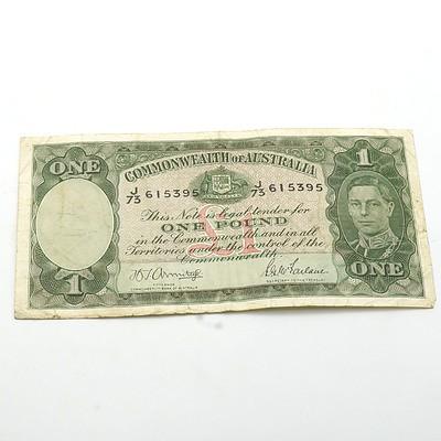 Commonwealth of Australia Armitage/McFarlane One Pound Banknote, J73 615395