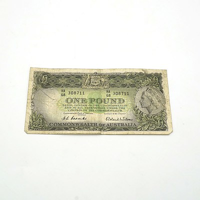 Commonwealth of Australia Coombs / Wilson One Pound Note, HA68 308711