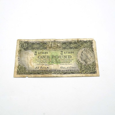 Commonwealth of Australia Coombs / Wilson One Pound Note, HB92 673684