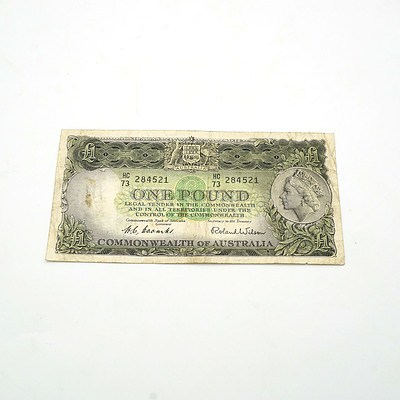 Commonwealth of Australia Coombs / Wilson One Pound Note, HC73 284521