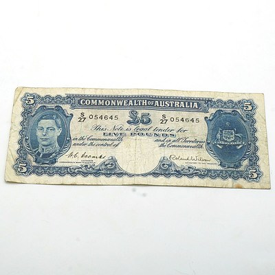 Commonwealth of Australia Coombs/Wilson Five Pound Note, S27 054645
