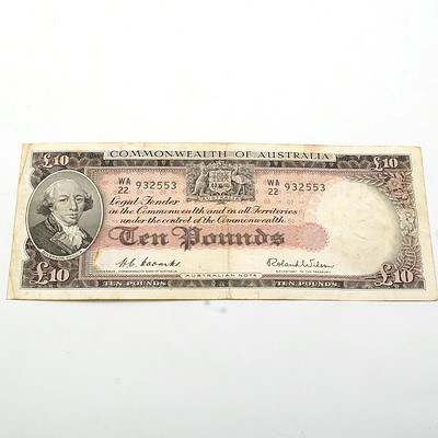 Commonwealth of Australia Coombs/Wilson Ten Pound Note WA 22 932553