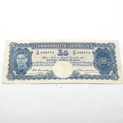 Commonwealth of Australia Coombs/Wilson Five Pound Note, S51 928775
