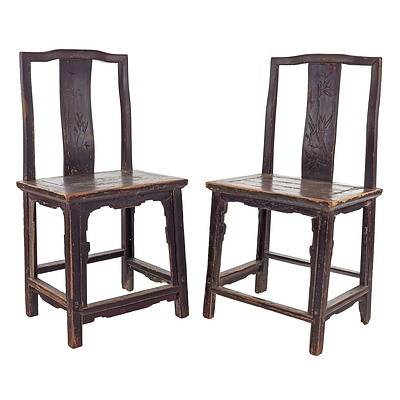 Pair of Antique Chinese Lacquered Elm Chairs, 19th Century