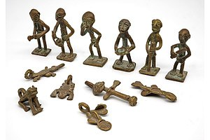 Six Miniature Bronze African Figures and Six Small Nigerian Charms, plus Four Small Animal Figures