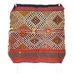Antique Turkish Kurdish Woolen Stitched Flat Weave Soumak Bag Facings with Geometric Guls