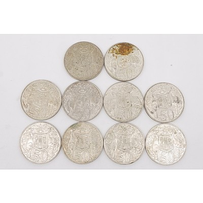 Ten Australian 1966 Silver Fifty Cent Coins