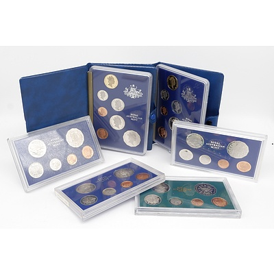 Australian Proof Coin Sets Including 1981, 1982, 1983, 1980, 1985 and 1986