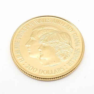 1981 Australian 22ct Gold $200 Coin, Royal Wedding Commemorative Coin, 10g