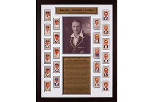 Framed Presentation of the Bodyline Series with 22 Players Cigarette Cards