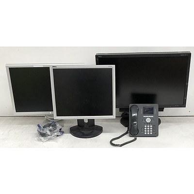 Bulk Lot of Assorted Monitors, Office Phones & VGA Cables