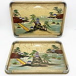Pair of Japanese Hand Painted Wooden Serving Trays