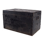 Rustic Black Stained Pine Chest with Metal Mounts