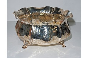 European Hammered Sterling Silver (925) Footed Bowl, 277g