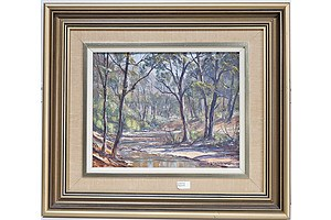 John Emmett (1927-) The Wolgan River Newnes, Oil on Canvas Board