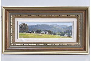 John Wilson (1930-) Farm Shed Little Hartley, Oil on Board