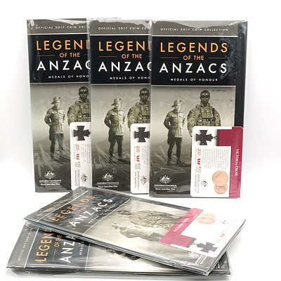 Five 2017 25c Victoria Cross Legend of ANZAC Carded Coin & Folder