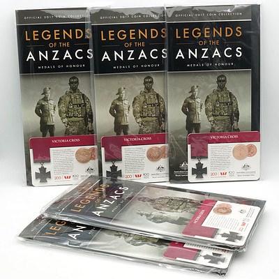 Five 2017 25c Victoria Cross Legend of ANZAC Carded Coin & Folder