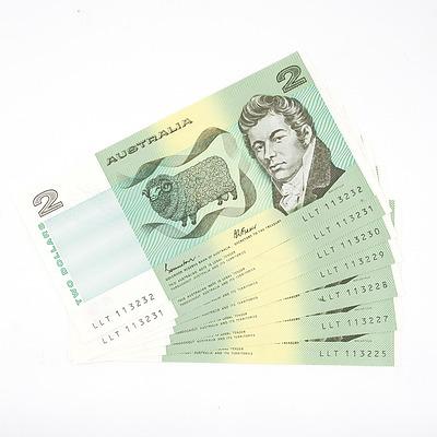 Seven Consecutively Numbered Australian Johnston/ Fraser $2 Notes, LLT113225-LLT113232