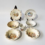 Seven Pieces of Royal Doulton  Bunnykins China Including Two Breakfast Bowls and Wedgwood Peter Rabbit China Including One Cup and More