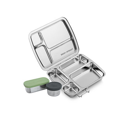 Crunchbox (the ultimate plastic free lunch box) with fully sealed pots for liquids and a hemp fibre protector case
