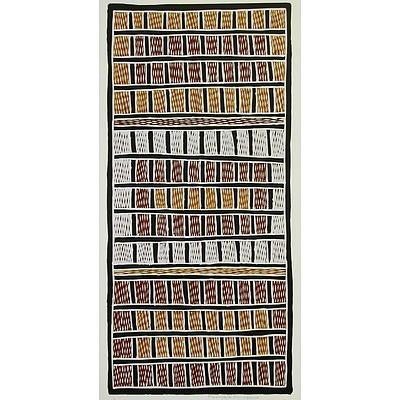 "Silkscreen print titled ""Djapu minytji"", 2007, by artist Marrnyula Munungurr"
