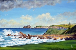 "Painting: ""View of Glasshouse Rocks, Narooma"" by John Bradley"