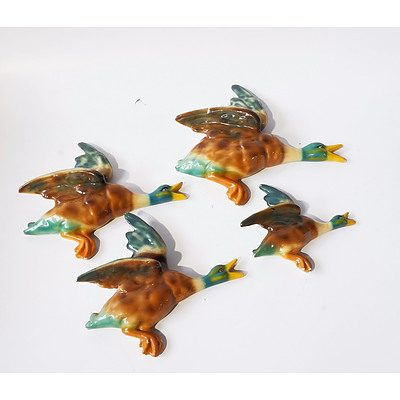 Set of Four Ceramic Flying Wall Ducks