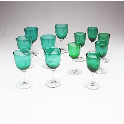 Eighteen Green Hand Blown Stem Ware Glasses