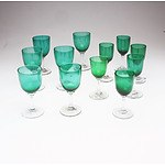 Set of 15 Green Hand Blown Stem Ware Glasses