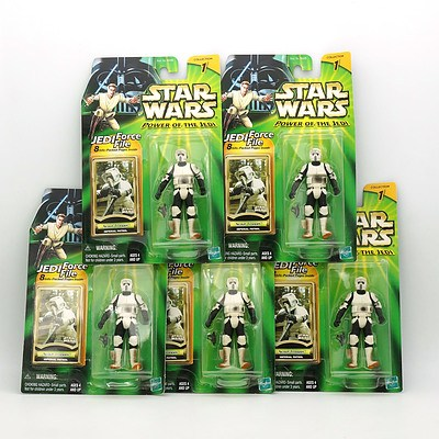 Five Hasbro 2000 Star Wars Power of the Jedi Collection One Scout Trooper, New Old Stock
