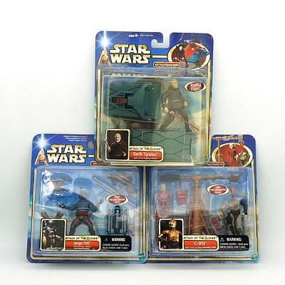 Hasbro 2002 Star Wars Figures, Including Darth Tyranus, Jango Fett andC-3PO, New Old Stock