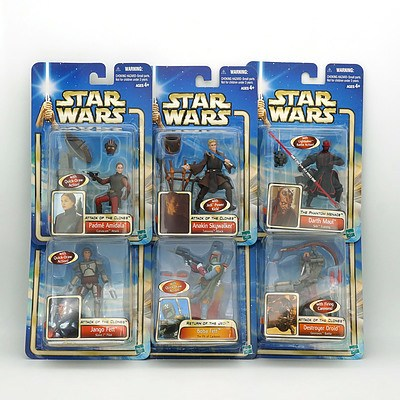 Six Hasbro 2002 Star Wars Collection One Figures, Including Boba Fett, Anakin Skywalker, Jango Fett and More, New Old Stock