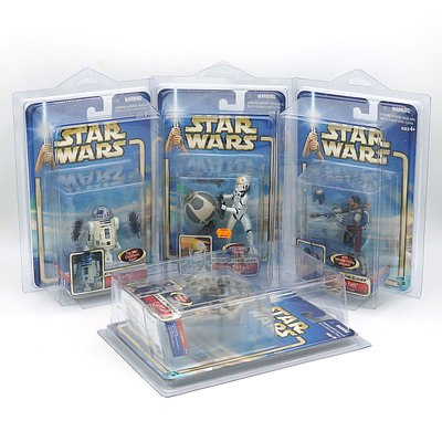 Four Hasbro 2002 Star Wars Attack of the Clones Collection One Figures, Including Jango Fett, C-3Po, R2-D2, and Clone Trooper, New Old Stock