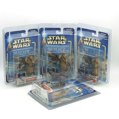 Four Hasbro 2002 Star Wars Attack of the Clones Collection Two Tusken Raider, New Old Stock