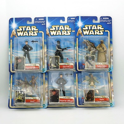 Six Hasbro 2002 Star Wars Collection Two Figures, Including Watto, Djas Puhr, Imperial Officer and More, New Old Stock