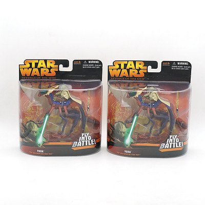 Two Hasbro 2005 Star Wars Revenge of the Sith Yoda Fly into Battle on a Can Cell, New Old Stock