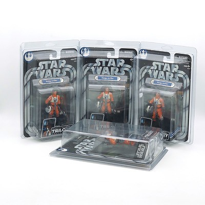 Four Hasbro 2005 Star Wars The Original Trilogy Collection Wedge Antilles, New Old Stock