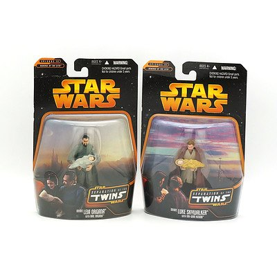Hasbro 2005 Star Wars Separation of the Twins Luke Skywalker and Leia Organa, New Old Stock