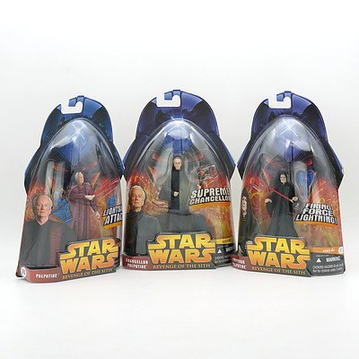 Hasbro 2005 Star Wars Revenge of the Sith Palpatine, Chancellor Palpatine and Emperor Palpatine, New Old Stock