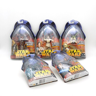 Five Hasbro 2005 Star Wars Revenge of the Sith Figures, Including 1, 2, 3, 4, and 5, New Old Stock