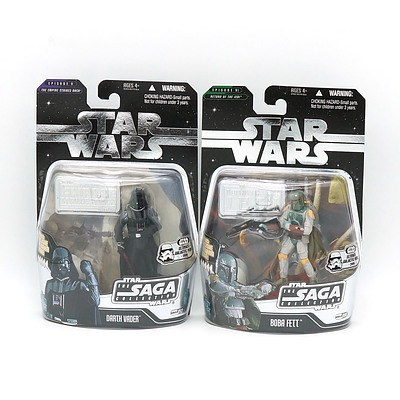 Hasbro 2006 Star Wars The Saga Collection with Exclusive Hologram Figure, The Ultimate Galactic Hunt 2006, Vader and Boba Fett, New Old Stock