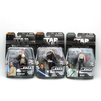 Hasbro 2006 Star Wars The Saga Collection with Exclusive Hologram Figure, The Ultimate Galactic Hunt 2006, Kenobi, Solo and Skywalker, New Old Stock
