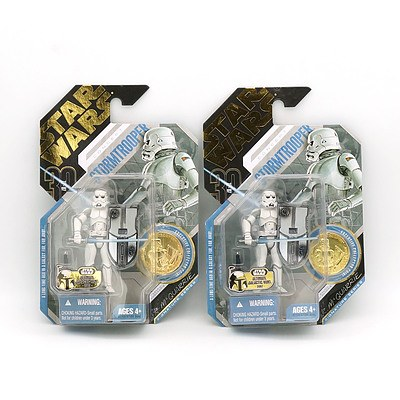 Two Hasbro 2006 Star Wars Concept Stormtrooper with Exclusive Collector Coin, Ultimate Galactic Hunt 2007, New Old Stock