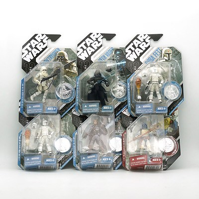 Six Hasbro 2007 Star Wars Figures with Exclusive Collector Coin, Including Concept Han Solo, Animated Debut Boba Fett, Concept Boba Fett and More, New Old Stock